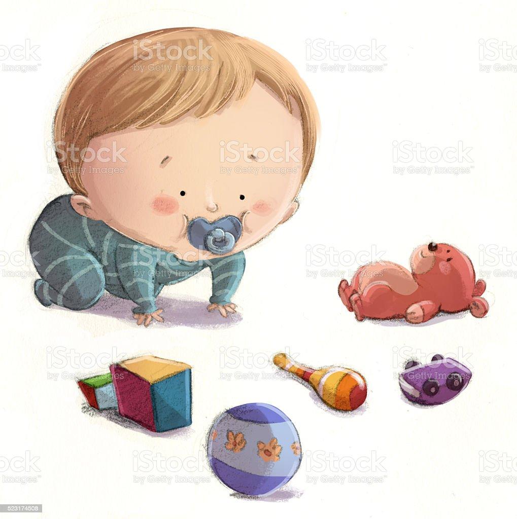 Ilustración de Bebe Jugando Con Juguetes y más banco de imágenes de ...