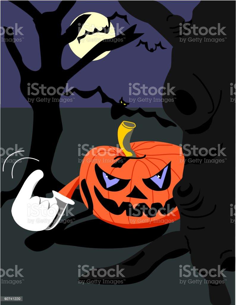 Beckoning Evil Pumpkin royalty-free stock vector art