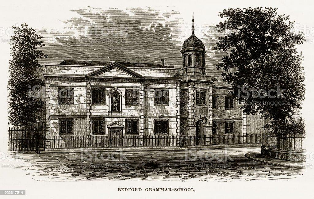 Bedford Grammar School, Bedford, England Victorian Engraving, 1840 vector art illustration