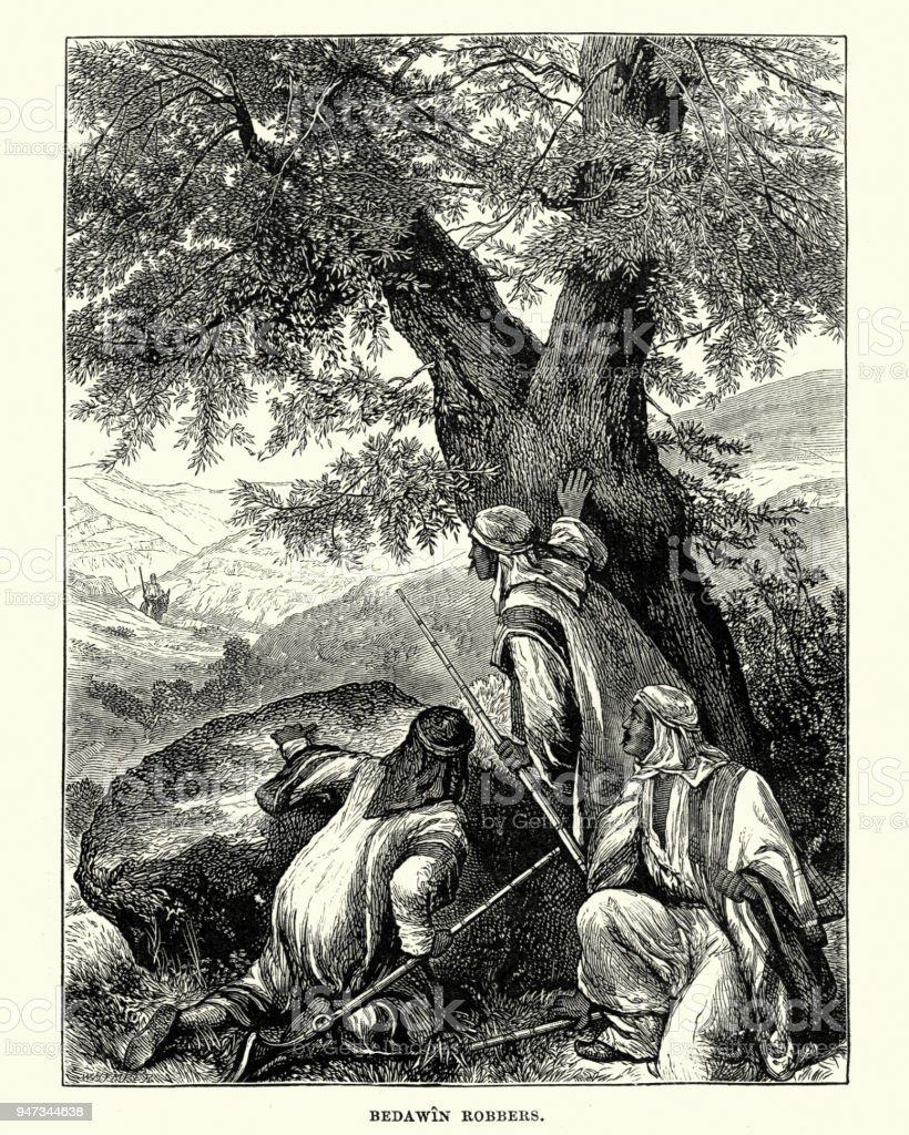 Bedouin robbers waiting to ambush a traveller, 19th Century vector art illustration