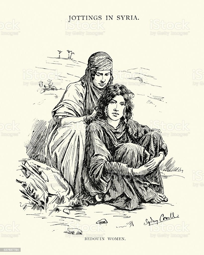 Bedouin women of Syria, 19th Century vector art illustration