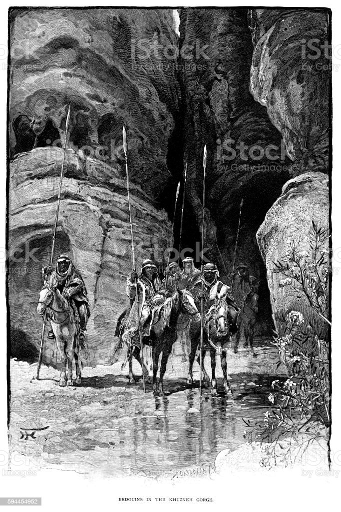 Bedouins in the Khuzneh Gorge vector art illustration