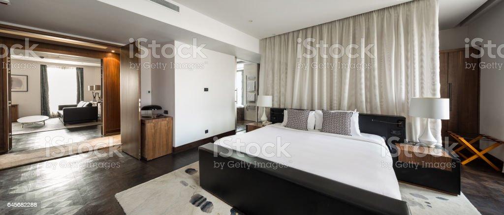 bedroom hotel apartment interior vector art illustration