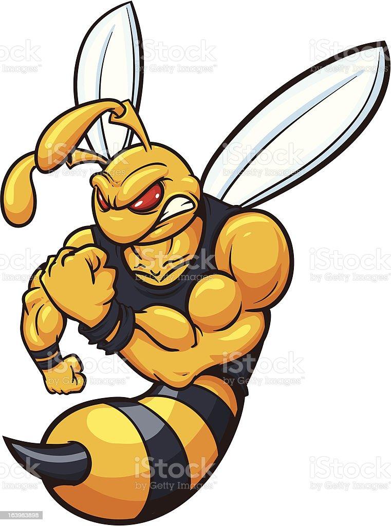 Bee mascot vector art illustration