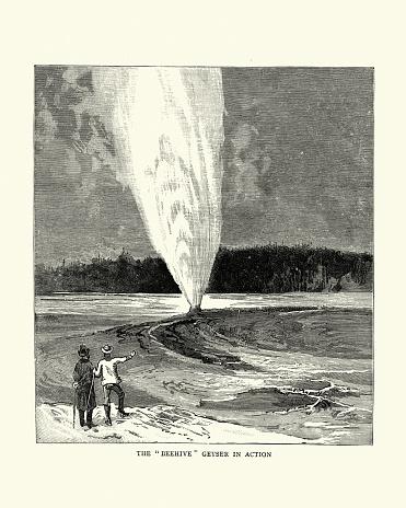 Vintage illustration of Beehive geyser erupting, Yellowstone Park, 1880s, 19th Century