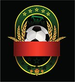 beer green emblem with soccer ball and fans isolated on black