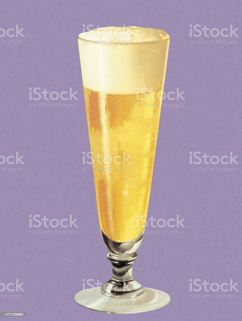 Beer in Pilsner Glass vector art illustration