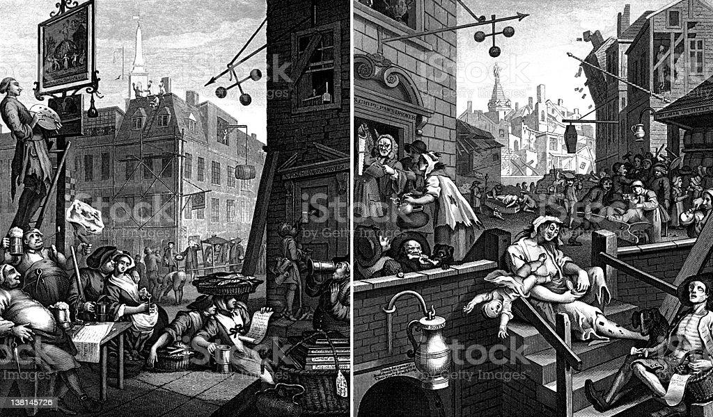 Beer Street and Gin Lane, Georgian illustrations by William Hogarth vector art illustration