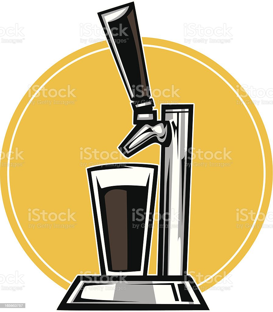 beer tap and pin vector art illustration