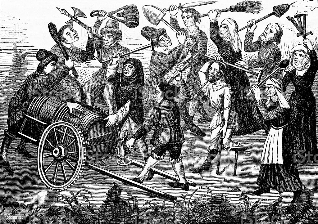 Beggars and Peasants Fight for Wine vector art illustration