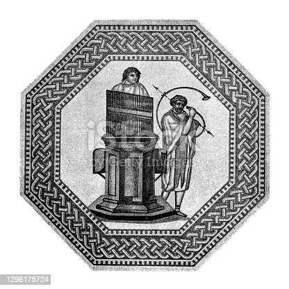 istock Beginning and end of the Roman games were often accompanied by music. This octagonal medallion depicts an organist playing a water organ and a curved horn player. 1296175724