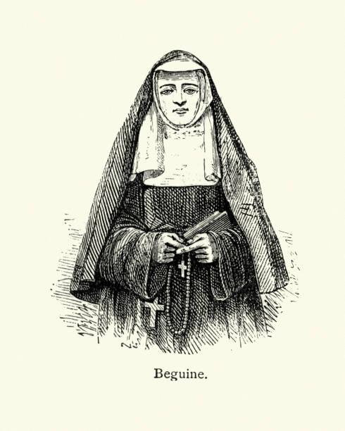 ilustraciones, imágenes clip art, dibujos animados e iconos de stock de monja de beguine - hermana