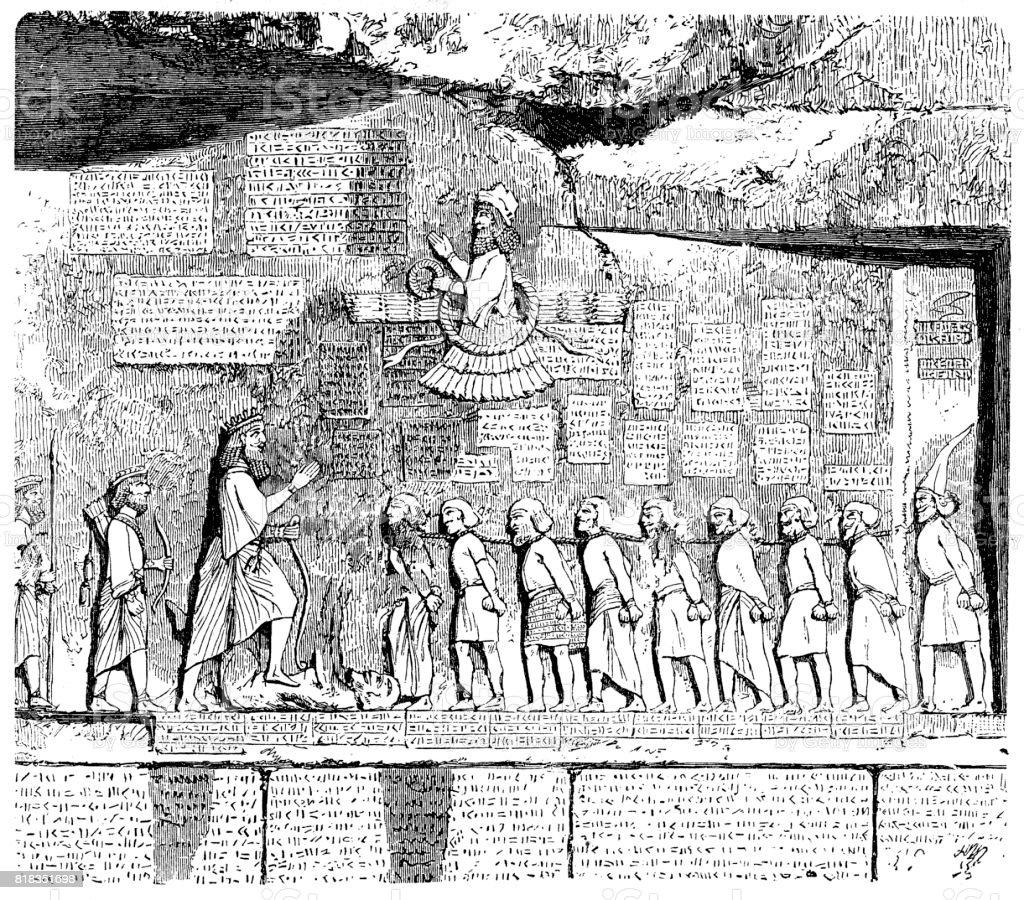 Behistun の銘刻文字古代レリー...