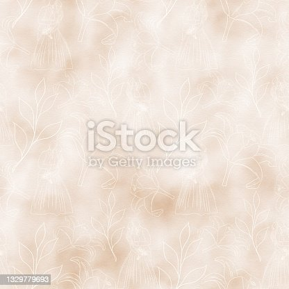 istock Beige watercolor background on a wedding theme with contour illustrations of flowers and a couple in love, seamless 1329779693