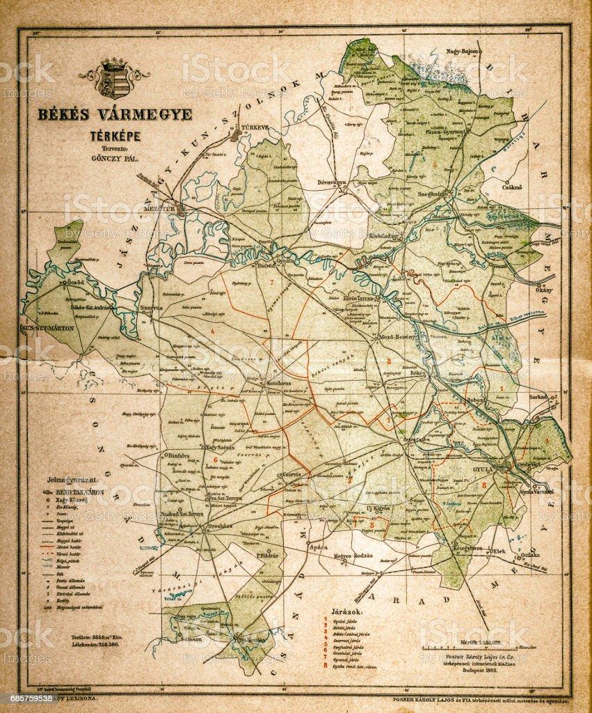 Mapa de Bekes ilustración de mapa de bekes y más banco de imágenes de anticuario - anticuado libre de derechos