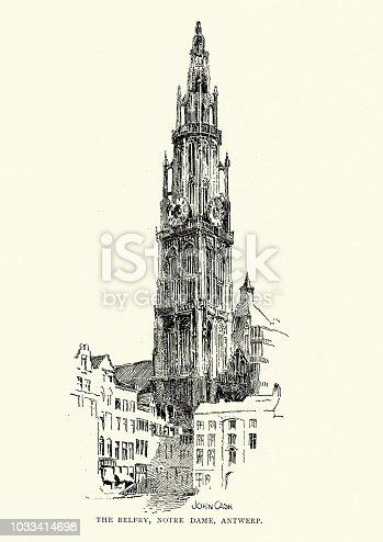 Vintage engraving of Belfry of Notre Dame, Antwerp, 19th Century