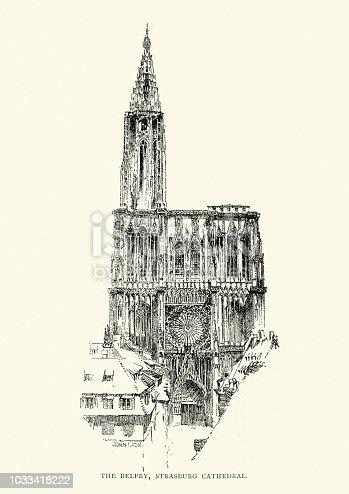 Vintage engraving of Belfry of Strasbourg Cathedral, 19th Century
