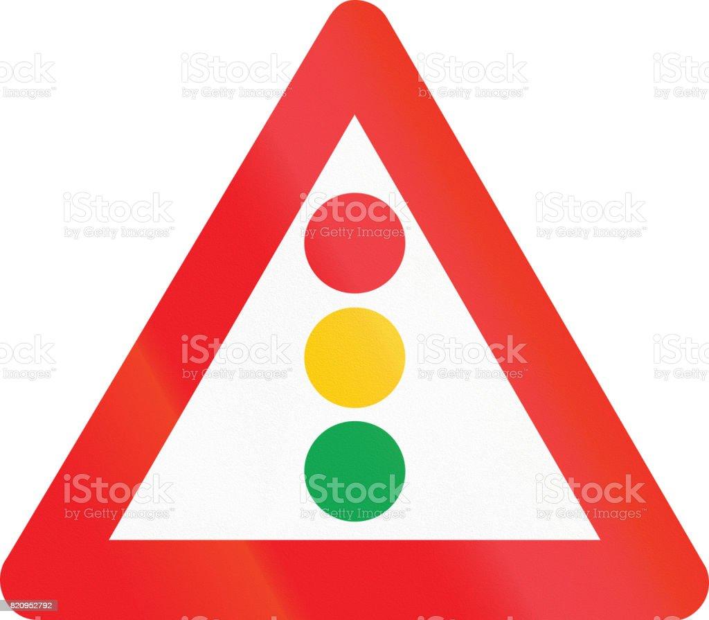 Belgian warning road sign - traffic signals vector art illustration