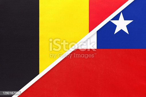 istock Belgium and Chile, symbol of two national flags from textile. Championship between two countries. 1250167058
