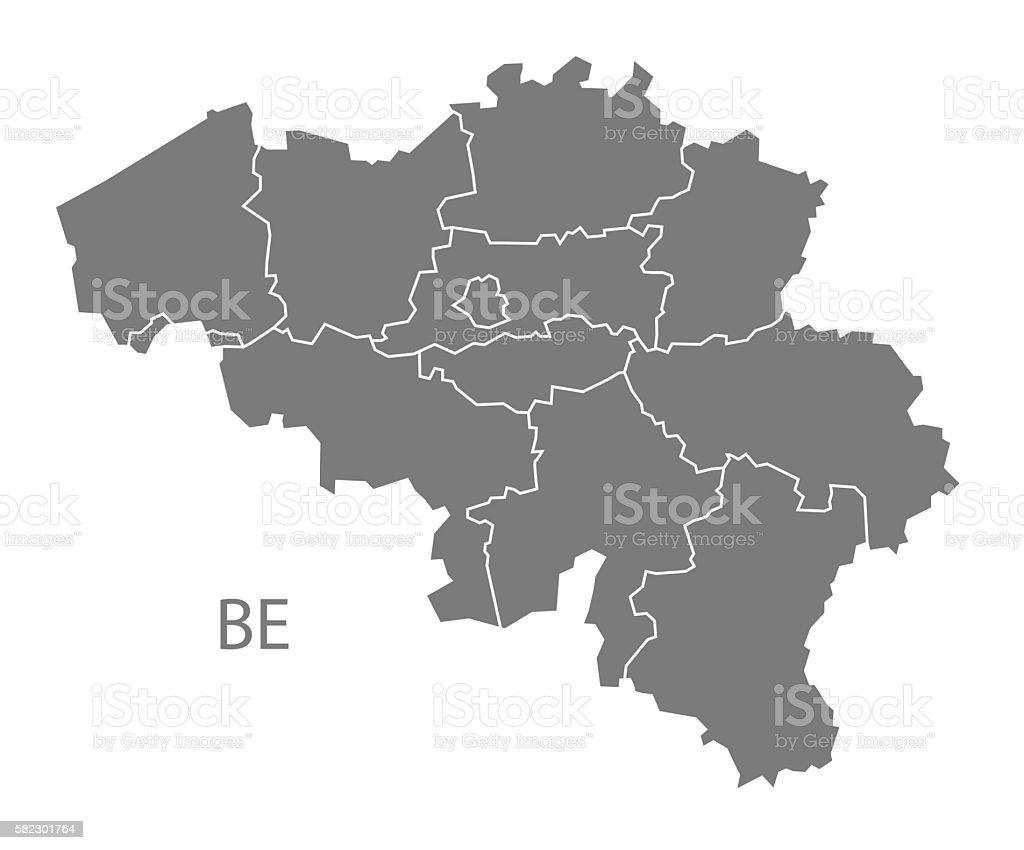 Belgium regions Map grey vector art illustration