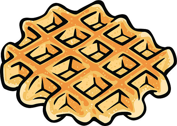 belgium waffle vector art illustration