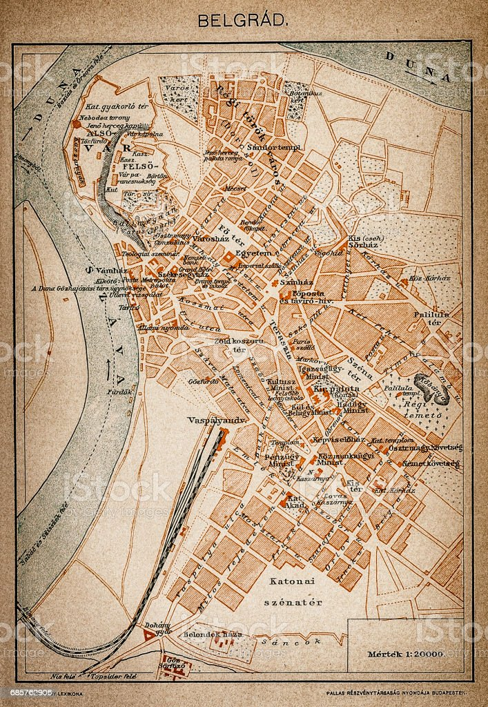Belgrade map 1893 vector art illustration
