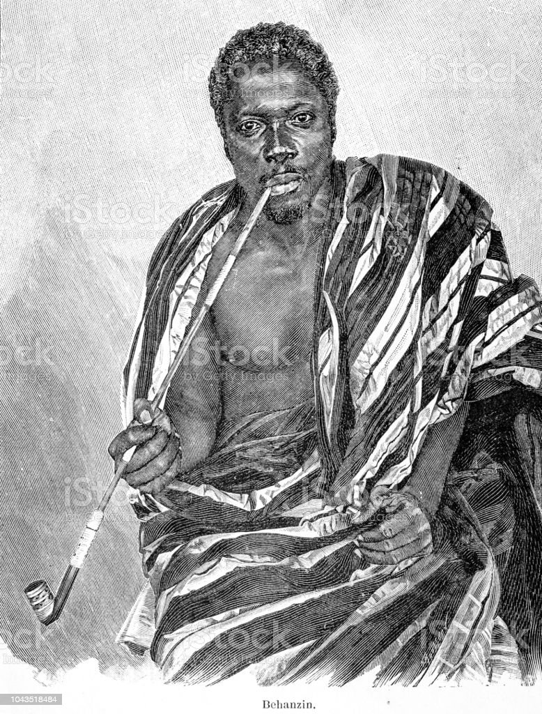 Belhanzin 11th king of dahomey illustration 1895 'the Earth and her People' vector art illustration