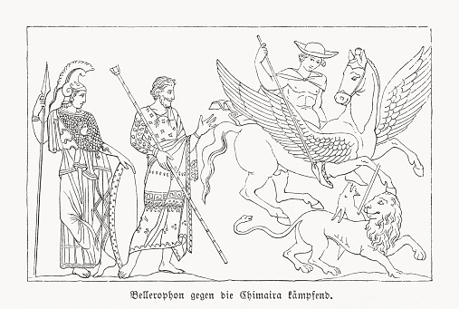 Bellerophon with Pegasus fighting Chimera, wood engraving, published in 1868