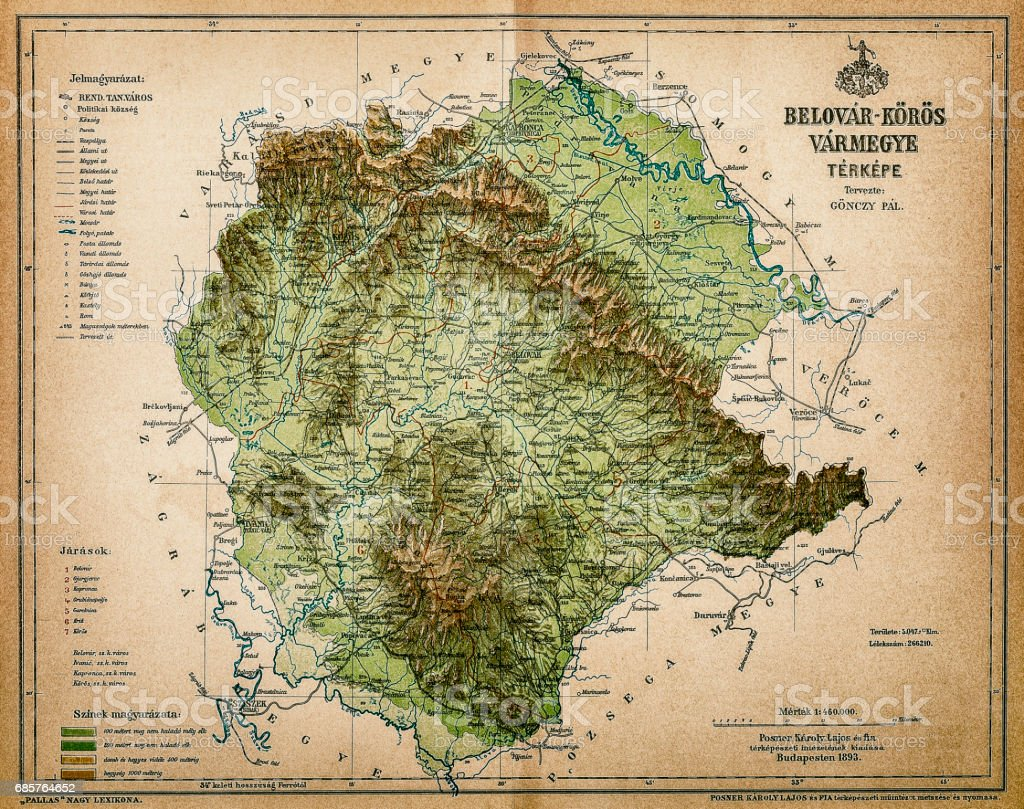 Belovar-koros ,Croatio map from 1893 vector art illustration