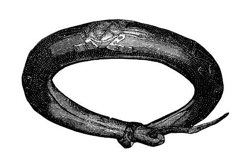Belt made of (in the style of the Rahnfibeln) hollow leather with three fittings made of copper sheet in the shape of lizard-like animals