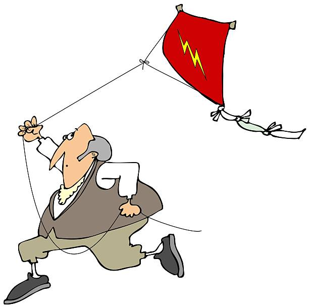 Ben Franklin flying a kite This illustration depicts Benjamin Franklin running with a red kite flying behind him. benjamin franklin stock illustrations