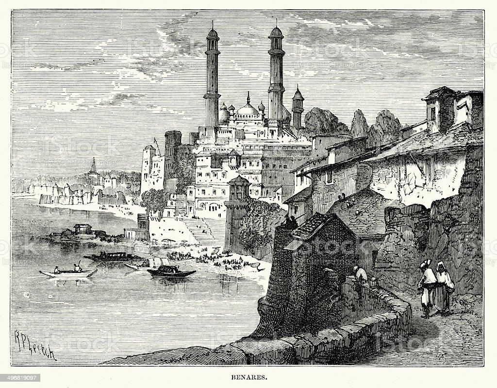 Benares in the 19th Century royalty-free stock vector art