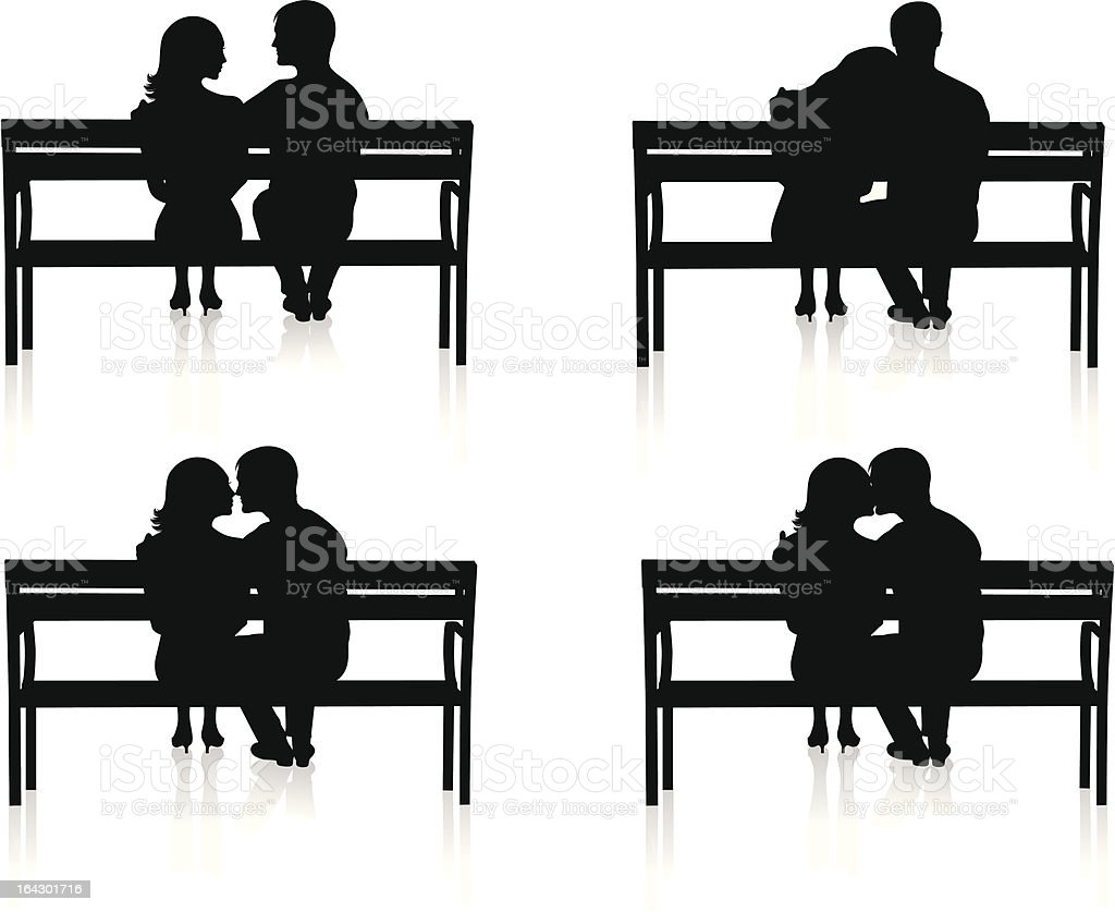 Bench and couple. royalty-free stock vector art