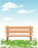 vector illustration of bench in nature