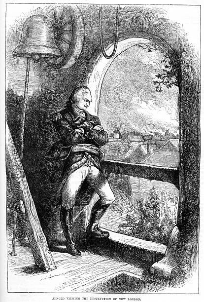 ilustrações, clipart, desenhos animados e ícones de benedict arnold ver a destruição de new london - brigadeiro