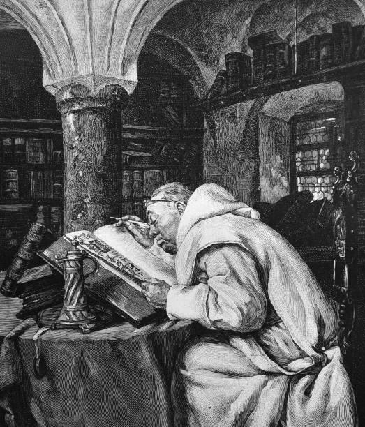 ilustraciones, imágenes clip art, dibujos animados e iconos de stock de monje benedictino trabajando en la reescritura de los textos sagrados - 1895 - hermano