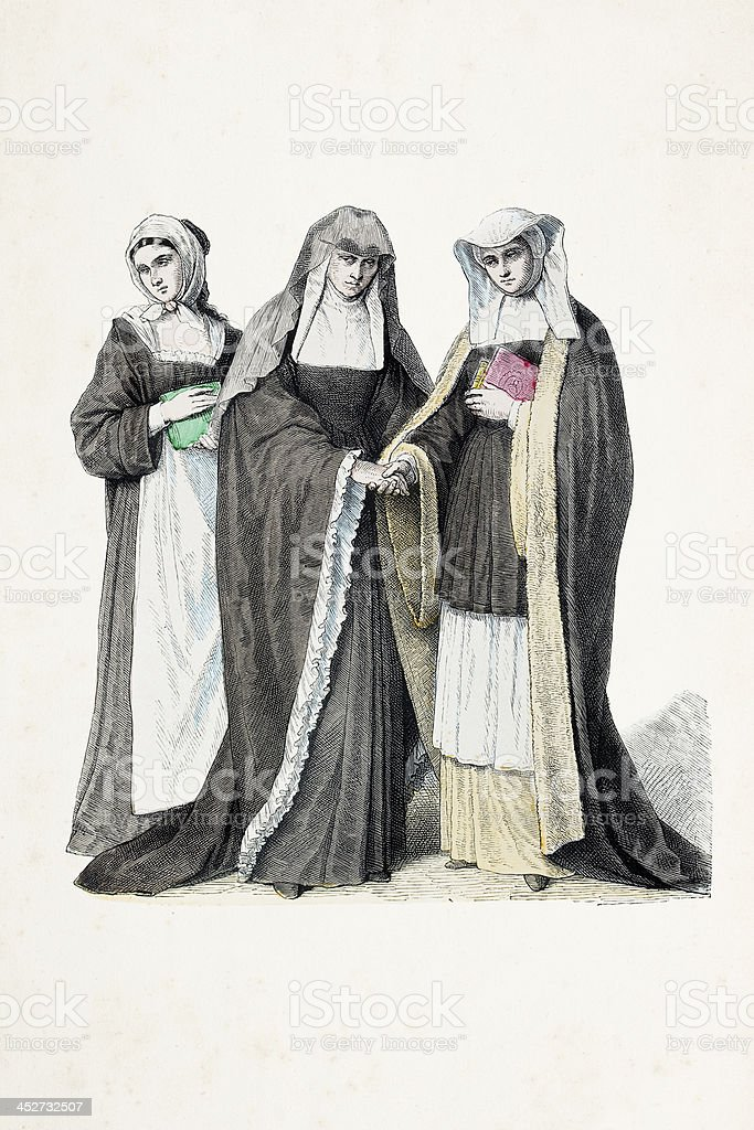 Benedictine nun with traditional costumes from 18th century royalty-free stock vector art