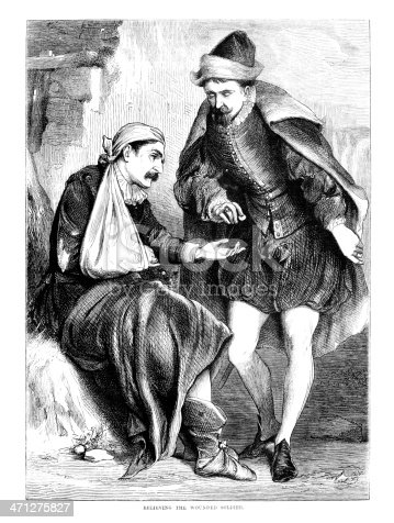 A generous benefactor giving alms to a distressed wounded soldier. From