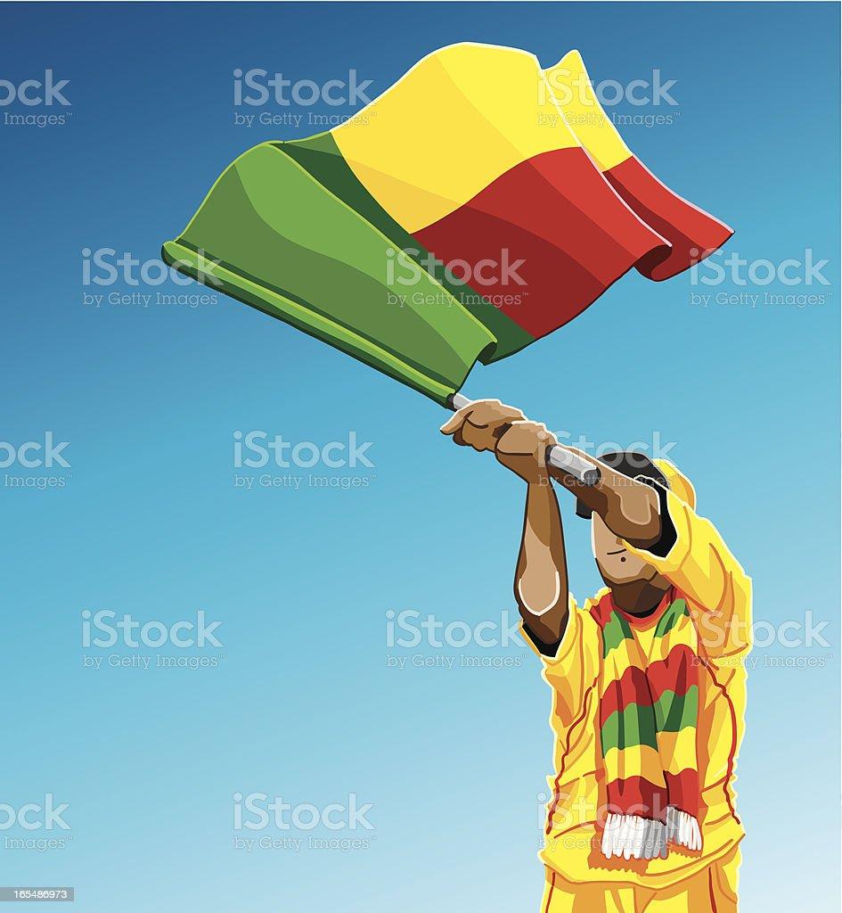 Benin Waving Flag Soccer Fan royalty-free stock vector art