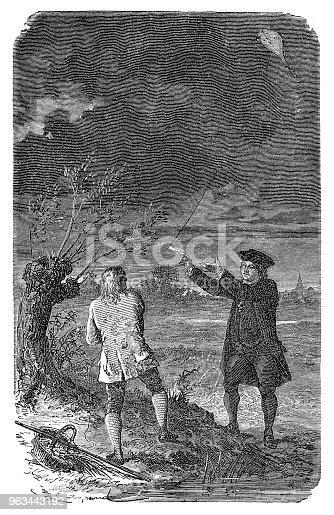 Illustration of a Benjamin Franklin and the Kite Experiment