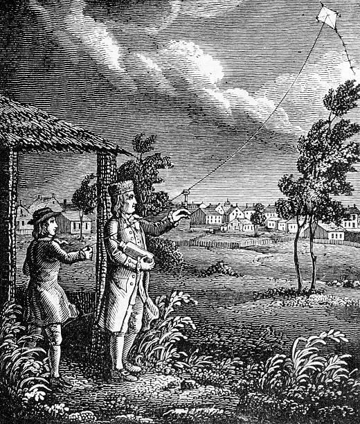 Benjamin Franklin and the Kite Experiment  benjamin franklin stock illustrations