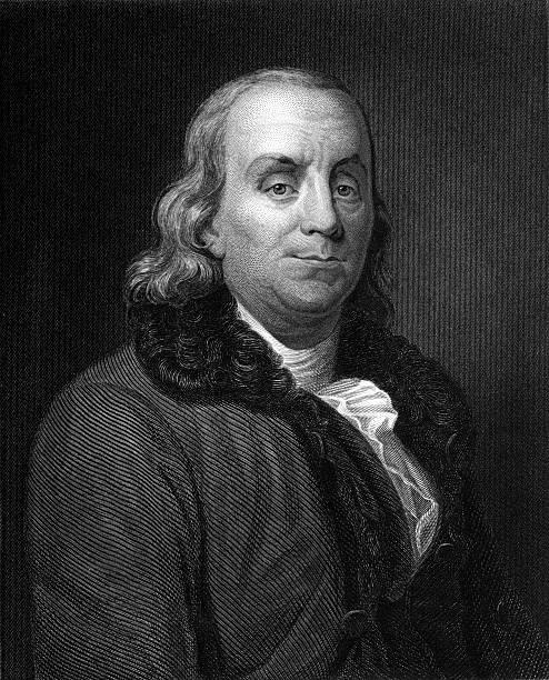 Benjamin Franklin Engraving - Ultra XXXL Antique engraved portrait of Benjamin Franklin. Ultra high resolution scan. benjamin franklin stock illustrations