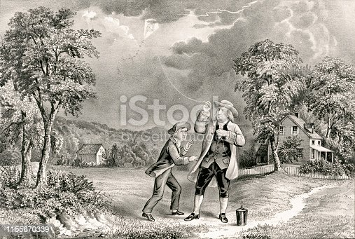 Vintage illustration shows Benjamin Franklin flying a kite during a thunderstorm and collects ambient electrical charge in a Leyden jar, enabling him to demonstrate the connection between lightning and electricity.