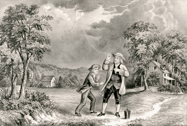 Benjamin Franklin Flies a Kite During at Thunderstorm, June 1752 Vintage illustration shows Benjamin Franklin flying a kite during a thunderstorm and collects ambient electrical charge in a Leyden jar, enabling him to demonstrate the connection between lightning and electricity. benjamin franklin stock illustrations