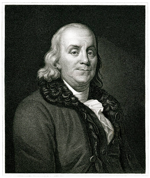 Benjamin Franklin Engraving From 1834 Featuring The American Scientist, Writer, And Politician, Benjamin Franklin.  Franklin Lived From 1706 Until 1790. benjamin franklin stock illustrations