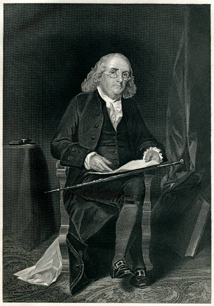 Benjamin Franklin Engraving From 1867  Featuring The American Scientist, Writer, And Politician, Benjamin Franklin.  Franklin Lived From 1706 Until 1790. benjamin franklin stock illustrations