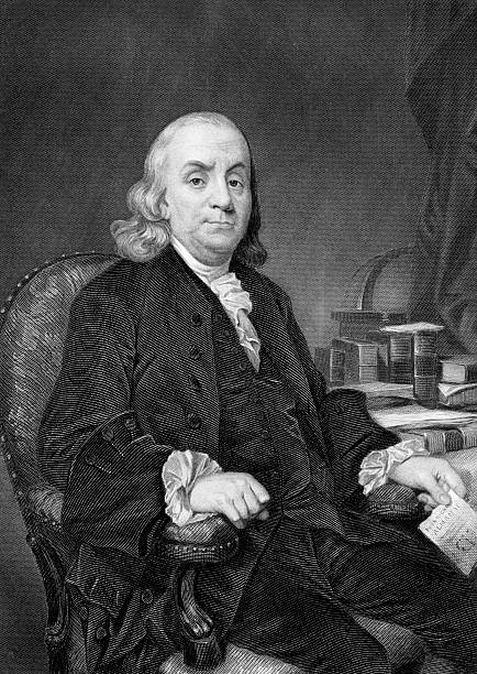 Benjamin Franklin Benjamin Franklin (1706-1790) on engraving from 1873. One of the Founding Fathers of the United States. Engraved by unknown artist and published in ''Portrait Gallery of Eminent Men and Women with Biographies'',USA,1873. benjamin franklin stock illustrations