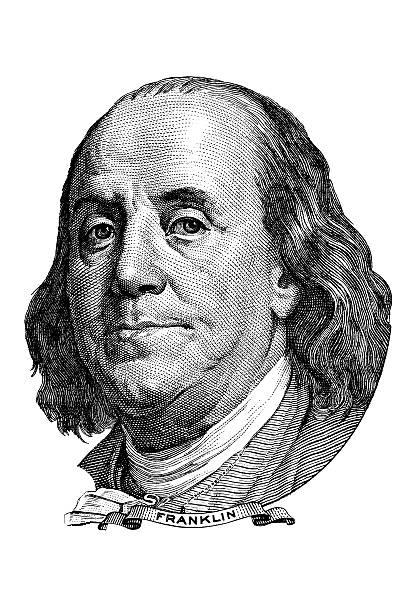 Benjamin Franklin (head to the right) Portrait of Benjamin Franklin in front of the one hundred dollar bill benjamin franklin stock illustrations