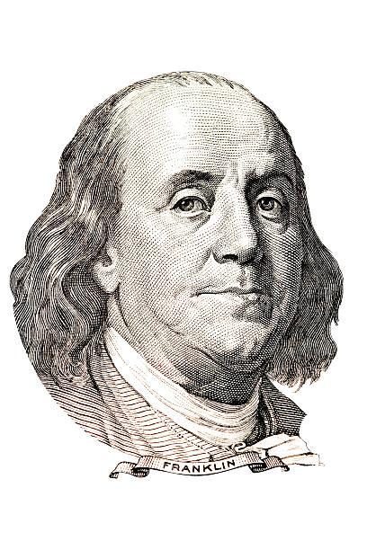 Benjamin Franklin portrait Portrait of Benjamin Franklin in front of the one hundred dollar bill benjamin franklin stock illustrations