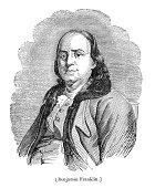 Benjamin Franklin president United States engraving from 1837